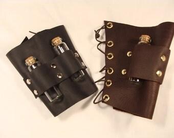 Single Leather Wrist Bottle Holder Steampunk