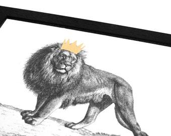 Hand Gilded Lion Print