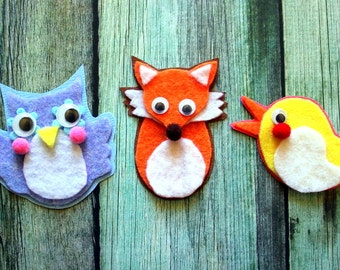 WOODLAND CUTIES #1 - Set of 3 Cute Handmade Felt Cartoon Cuties Embellishments for Scrapbooking, Arts & Crafts etc. - owl, fox, bird