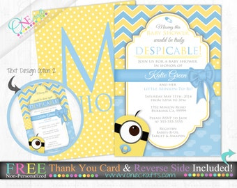 printable minion inspired baby shower invitation diy printing