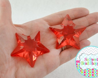 Acrylic Star Pendant, 2ct, Red, 48mm