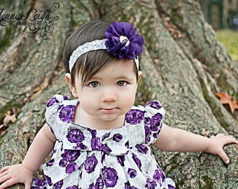 Purple flower headband, purple headband, Lace Headband, purple and white headband, Purple flower girl headband, purple flower headband