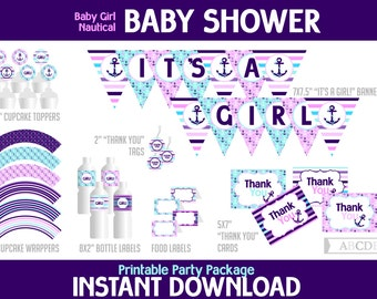Purple and aqua Nautical Girl Baby Shower Package, Banner, Cupcake toppers and wraps, Thank You tags and cards, Food labels, ( PDN060 )