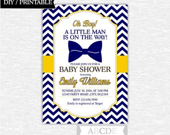 Navy and Yellow Boy Baby Shower Mustache Invitation 5x7 Little Man Baby Shower DIY Printable ( PDLMMB002 )