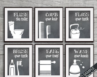 Funny Bathroom Prints - Set of 6 - Art Prints (Featured in Vintage Chalkboard) Customizable Bathroom Prints