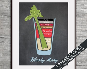 Bloody Mary Recipe Diagram (Vodka Cocktail)  Art Print (Featured Vintage Chalkboard) Cocktails and Mixers Recipe Chart