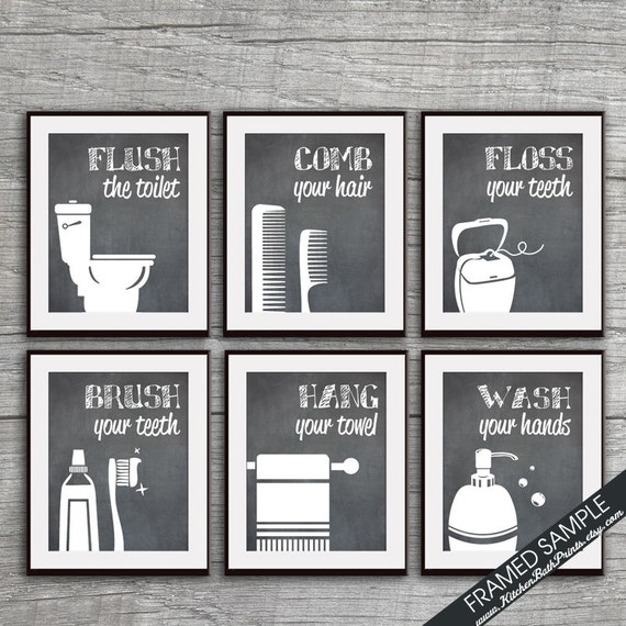Funny Bathroom Prints Set Of 6 Art Prints Featured In