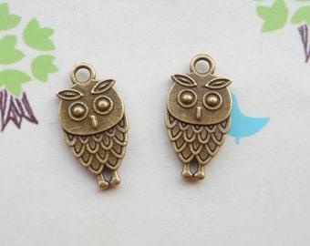 SALE 50 PCS 9x15mm Lovely The little owl Charm Pendant --Double owl Antique Bronze