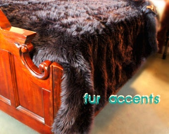 Plush Faux Fur Bedspread - Comforter - Blanket - Throw - Thick Shaggy Black - Minky Cuddle Fur Lining