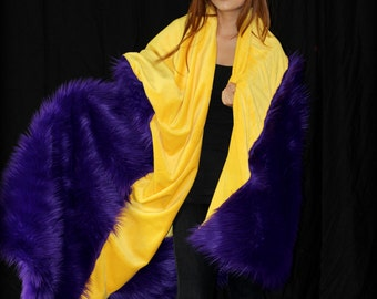 FUR ACENTS Fan Fur Throw  Blanket / Reversible / Purple and Gold / Shag