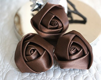 "Set of 3 Rolled Rosettes 1.5"" - Brown - Satin Flower - Satin Rose - Small Rosettes - Satin rosettes - Rolled flowers - Wholesale -Supplies"