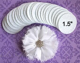 """25 White Felt Circles - 1.5"""" Felt Circles"""