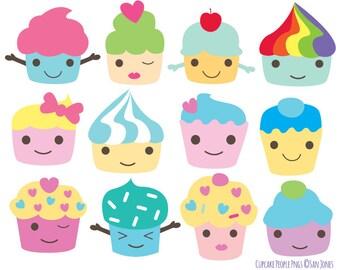 Cupcake Clip Art - Kawaii Cupcakes Characters Set - Kawaii clipart - cute cupcakes