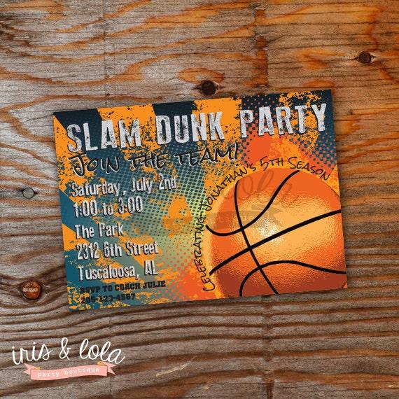 Slam Dunk Basketball Birthday Digital Invitation By Iris