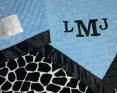 FREE SHIPPING Personalized Baby Blanket with Black and White Giraffe Minky.  You choose colors, minky or satin back
