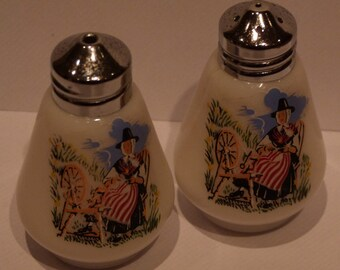 Milk Glass Vintage Salt and Pepper cellars with Traditional Welsh Spinning Lady Transfer