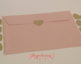 50 X Glitter Gold Love Heart Stickers / Envelope Seals - Wedding Bomboniere Labels Favour Stickers