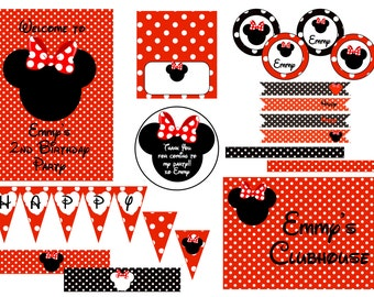 Minnie Mouse Party Decorations - Red, Black & White