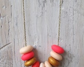 Pop Pink - Neon Pink, Baby Pink, Flashy Coral, White & Coral Handmade Necklace by Leonie Brow