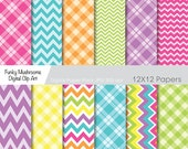 Digital Paper Pack- Colorful gingham chevron scrapbooking paper crafts invitations cards making commercial use - INSTANT DOWNLOAD