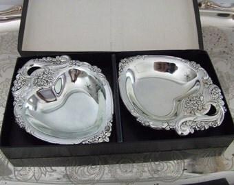 Vintage NOS Bon Bon- Candy Bowl Rosettes Silver Plate  F.B. Rodgers 2 Hearts