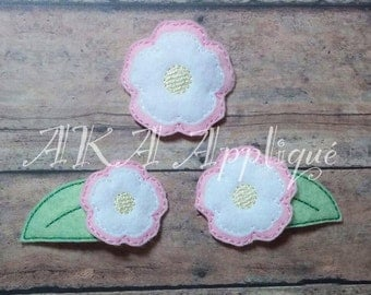 Double Bloom Flower Feltie and Leaf Clip Cover Embroidery Design
