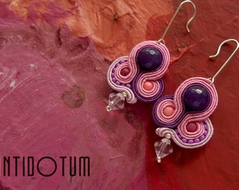 MAGENTA Soutache Earrings with Jade Ruby - Antidotum- Craftwork- Handmade- Soutache Jewellery
