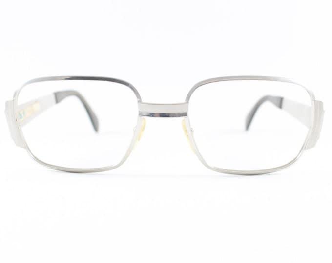 70s Vintage Eyeglasses | 1970s Silver Square Glasses | NOS Eyeglass Frame | Deadstock Eyewear - John