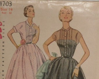 Simplicity 4703 Pattern Misses' One piece Gathered Dress Vintage 1954 Size 14 Bust 32