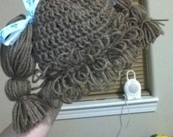 Cabbage Patch Knit Hat With Fringe And Pigtails Pattern : Cabbage Patch Hat With Pigtails Search Results Hairstyle Galleries