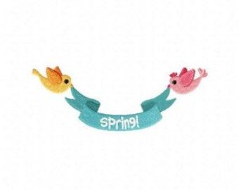 Spring Banner Birds Machine Embroidery Design