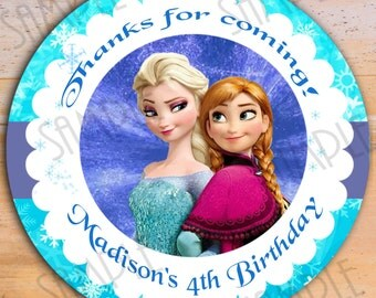 "Disney Frozen Favor Tags   - Printable 2.5"" Birthday Party Favor Tags Printable Treat Bag Label Frozen Anna Elsa"