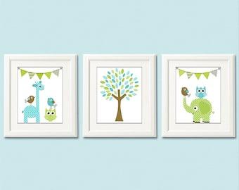 Blue, green and brown Nursery Art Print Set - 8x10- Baby boy Room Decor, flags, elephant, giraffe, owl, bird, tree, blue, aqua, olive, green