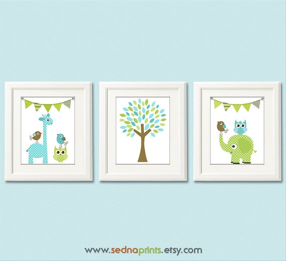 hnliche artikel wie blau gr n und braun kinderzimmer art print set 8 x 10 baby boy room. Black Bedroom Furniture Sets. Home Design Ideas
