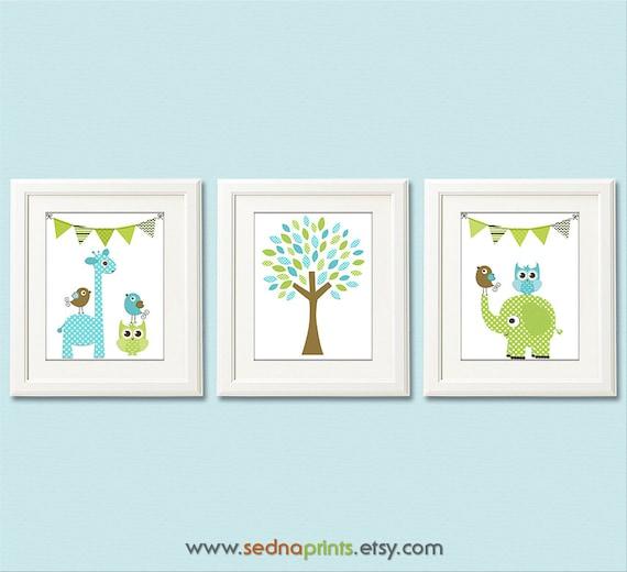 blau grün und braun kinderzimmer art print set 8 x 10-baby - Kinderzimmer Braun Grun