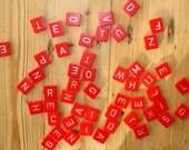 Vintage Scrabble tiles, wood, red, set of 50, Scrabble letters, craft materials  [ no.82 ]