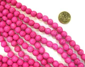 8mm Round Pink Coloured Howlite Stone Strand