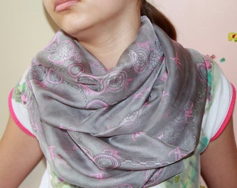 Grey Infinity Chiffon Scarf - Spring Accessory  - Circle Spring Scarf in gray pink -Valentine's Day Gift