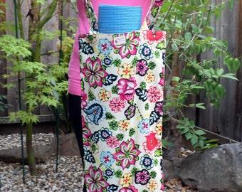 Handmade Slim Tote Bag - Yoga Mat Tote Bag - Hula Bag - Cotton features colorful Hibiscus Flowers on White