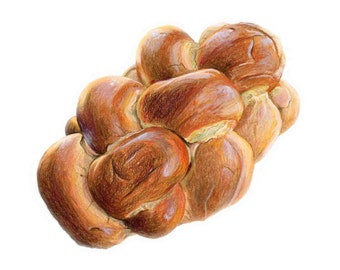 Challah Art, Bread Art // Food Illustration // Archival Print, Home decor, Bakery, Art for Baker