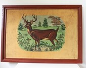 Vintage Extra Large Paint by numbers deer painting, retro cottage cabin wall art, buck in the wilderness, vintage home decor, fireplace art