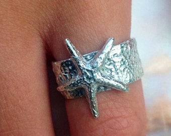 Starfish ring sterling silver