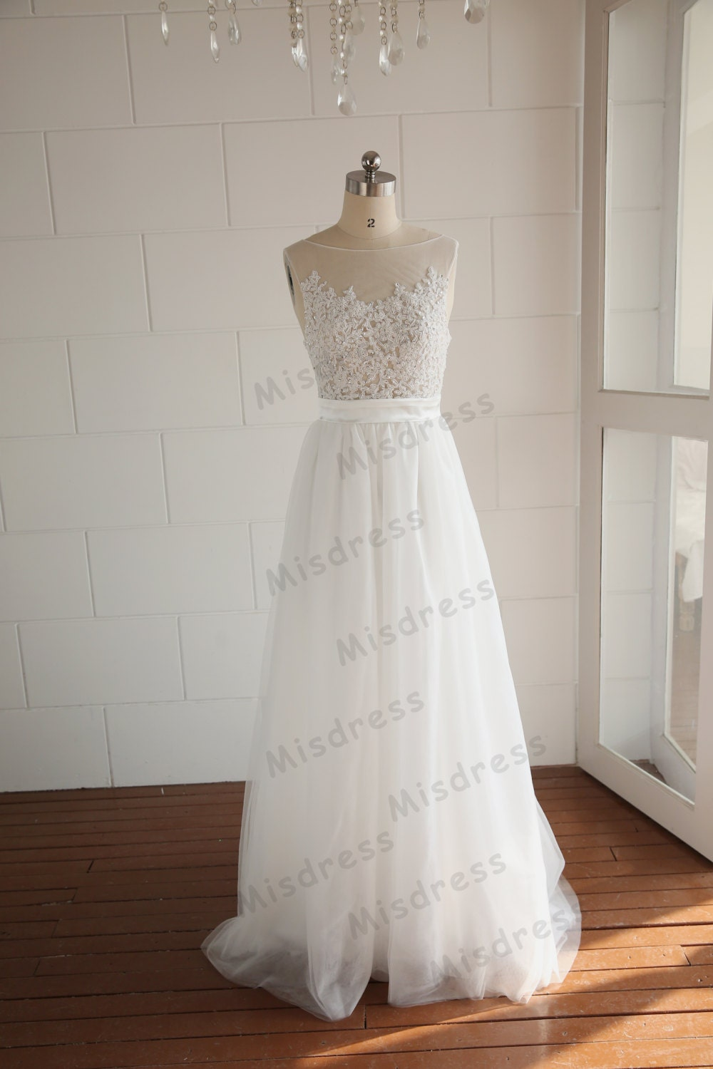 Beaded Beading Pearl Sheer See Through Tulle Lace Wedding Dress V Back Dress Prom Dress