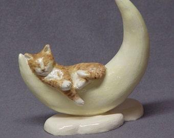 Handmade Ceramic Sleeping Cat on the moon  - Cat Figurine, Cat Sculpture, Ceramic Animal, Ceramic Art, Birthday Gift