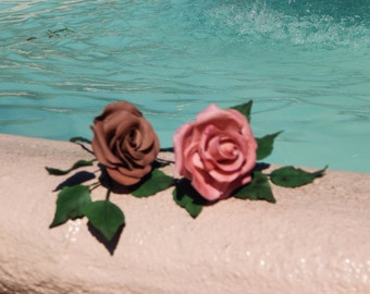 Gorgeous Sugar Flowers ~ Long Stem Roses in a variety of colors and designs! Set of 3 ~ Gum Paste Flowers ~ Edible cake topper