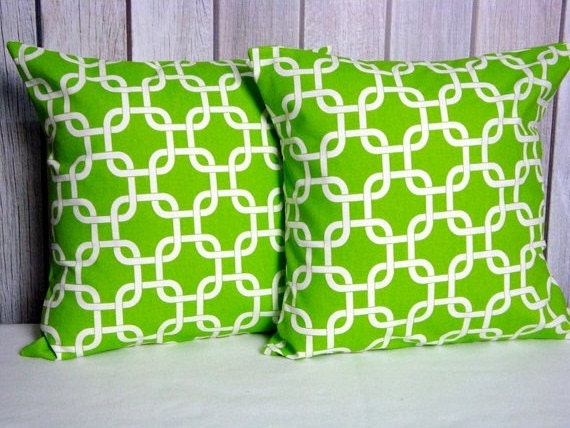 Green Throw Pillow Covers Set of Two 20x20