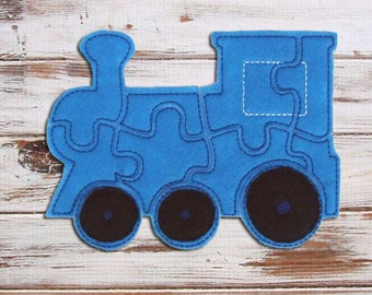Train Kids Puzzle - Felt - Easy Puzzles - Blue - Travel Toy - Toddler Learning - Educational Toy