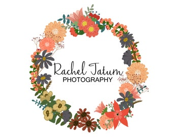 "Custom Premade Photography Logo and Watermark ""Wreath"""