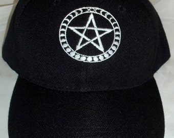 Pagan Hat BaseBall Cap with Pentacle /moon phases around it Wiccan Pagan Clothing