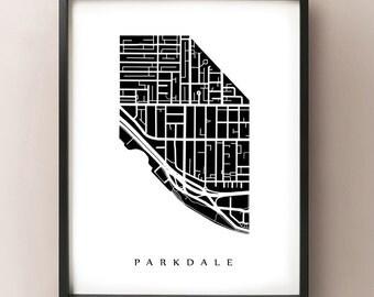 Parkdale Map - Toronto Neighbourhood Art Print